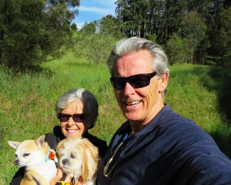 Bev, John, Mitsy, and Pepper, Tasmania, Australia