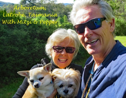 With Mitsy and Pepper in Tasmania on hike in Tasmania