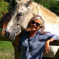 Bev and horses in Sharnbrook, England