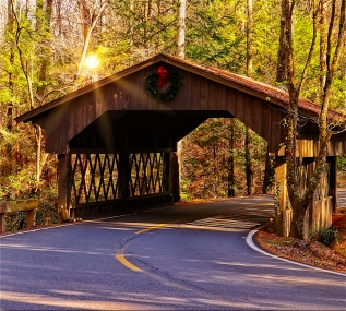 Covered Bridge on Sunny Morning